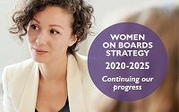 A woman with short brown hair looking side on. She is wearing a cream jacket.  The words Women on Boards Continuing our progress appears in a purple circle
