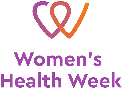 Womens Health Week logo has an abstract heart graphic in purple and orange